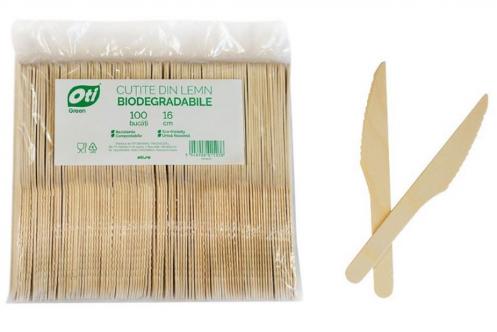 Cutite de Unica Folosinta din Lemn Eco Friendly Biodegrabile 16cm 100buc [2]