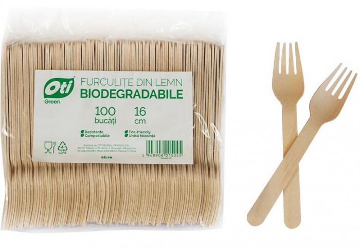 Furculite de Unica Folosinta din Lemn Eco Friendly Biodegrabile 16cm 100buc [2]