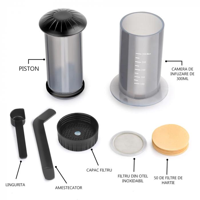 Presă de Aer pentru Prepararea Cafelei - Filtru de Cafea Espresso Manual, Portabil, Capacitate 300ml [4]