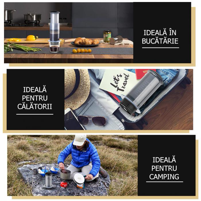 Presă de Aer pentru Prepararea Cafelei - Filtru de Cafea Espresso Manual, Portabil, Capacitate 300ml [7]