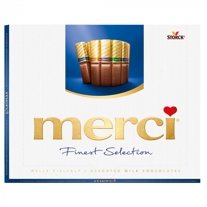 MERCI Mini Tablete de Ciocolata Asortata Cutie Albastra 250g [0]