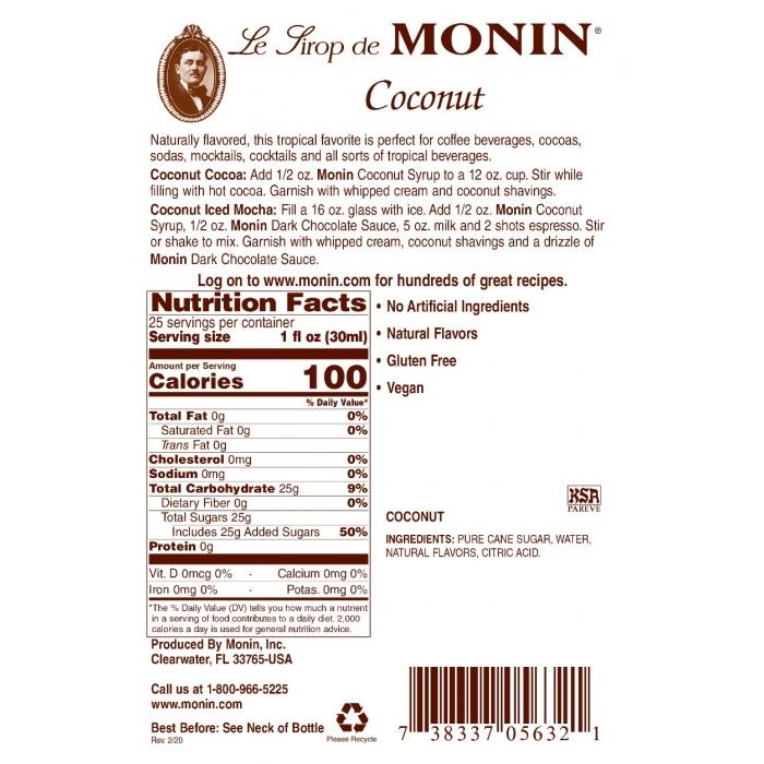 MONIN Coconut Sirop Pentru Cafea 700ml [1]