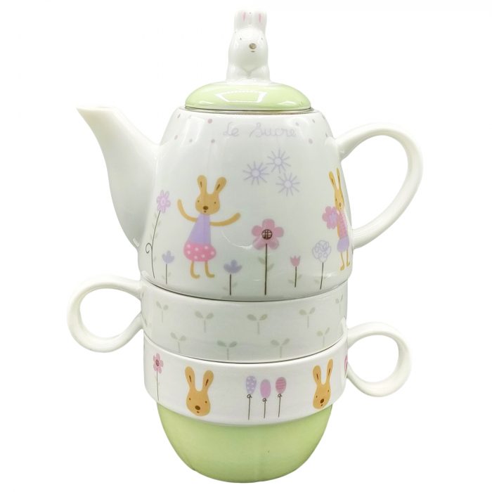 Set Ceainic + 2 Căni pentru Ceai - Model Iepurași [0]