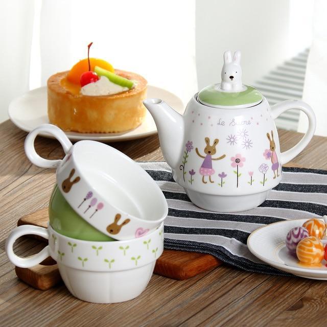 Set Ceainic + 2 Căni pentru Ceai - Model Iepurași [1]
