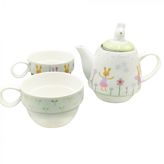 Set Ceainic + 2 Căni pentru Ceai - Model Iepurași [2]