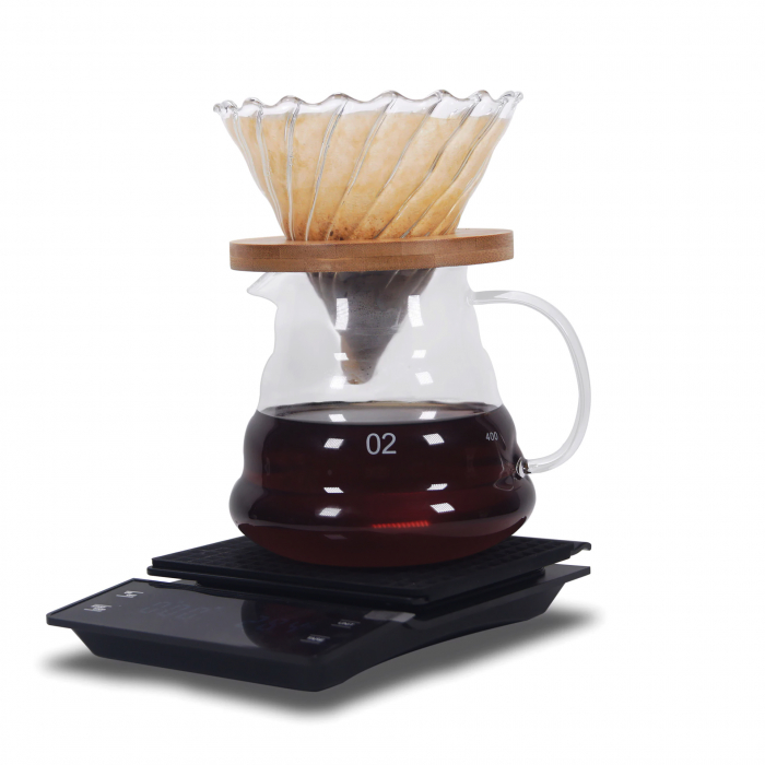 Set, Kit de Preparare a Cafelei V60 Pour Over cu Râșniță, Cantar, Capacitate Vas 500ml [4]