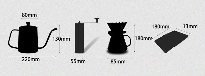 Set, Kit de Preparare a Cafelei V60 Pour Over cu Râșniță, Cantar, Capacitate Vas 500ml [9]