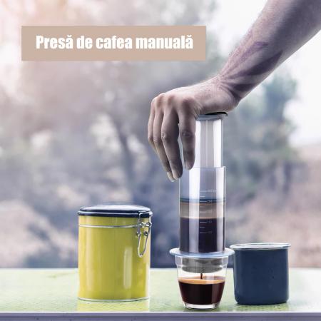 Presă de Aer pentru Prepararea Cafelei - Filtru de Cafea Espresso Manual, Portabil, Capacitate 300ml [5]