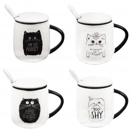 Cană din Ceramică pentru Ceai și Cafea cu Capac și Linguriță - Happy Cat [0]