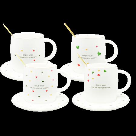 Cană din Ceramică pentru Ceai și Cafea cu Farfurie și Linguriță - Only You [0]