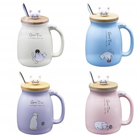 Cană din Ceramică pentru Ceai și Cafea cu Capac din Bambus și Linguriță - Good Time [0]