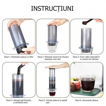 Presă de Aer pentru Prepararea Cafelei - Filtru de Cafea Espresso Manual, Portabil, Capacitate 300ml [2]