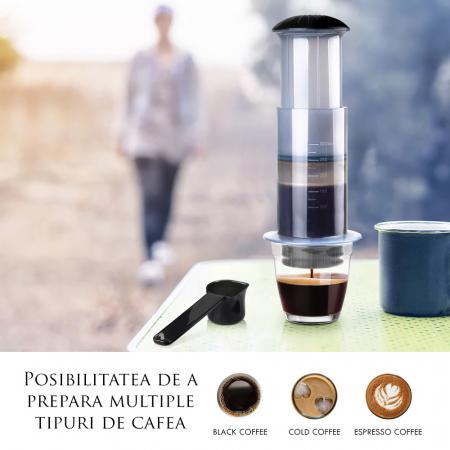 Presă de Aer pentru Prepararea Cafelei - Filtru de Cafea Espresso Manual, Portabil, Capacitate 300ml [6]