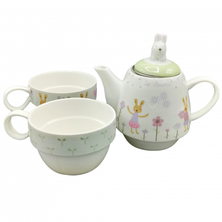 Set Ceainic + 2 Căni pentru Ceai - Model Iepurași [3]