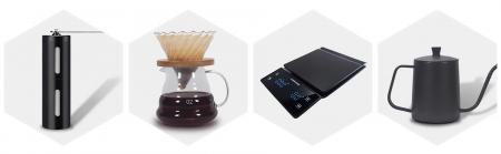 Set, Kit de Preparare a Cafelei V60 Pour Over cu Râșniță, Cantar, Capacitate Vas 500ml [1]