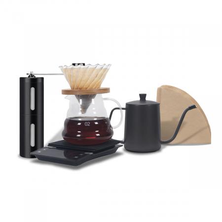 Set, Kit de Preparare a Cafelei V60 Pour Over cu Râșniță, Cantar, Capacitate Vas 500ml [0]
