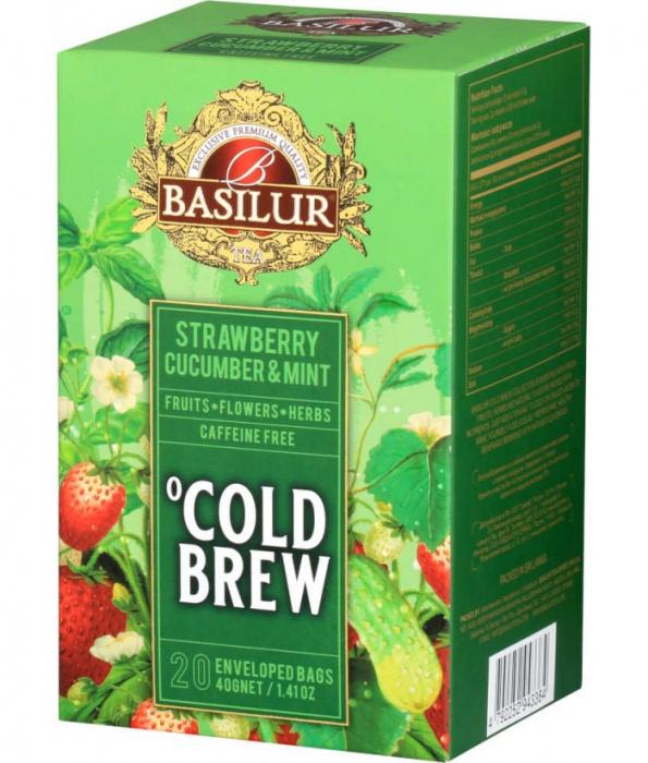 Ceai rece Basilur Brew Capsuni, Castraveti si Menta, 20 plicuri [0]