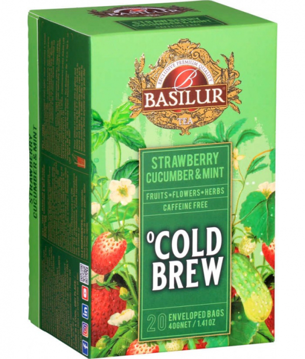Ceai rece Basilur Brew Capsuni, Castraveti si Menta, 20 plicuri [1]
