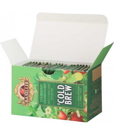 Ceai rece Basilur Brew Capsuni, Castraveti si Menta, 20 plicuri [3]