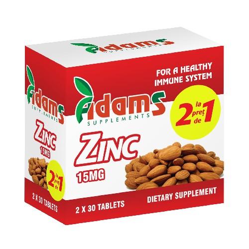 Zinc 15 mg 30 tb 1+1 Gratis Adams Vision 0