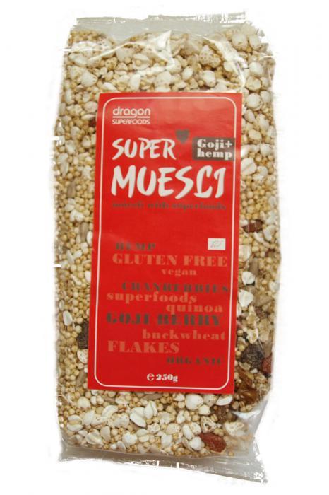Supermuesli Cu Goji Si Canepa Bio 250 g Dragon Superfoods 0