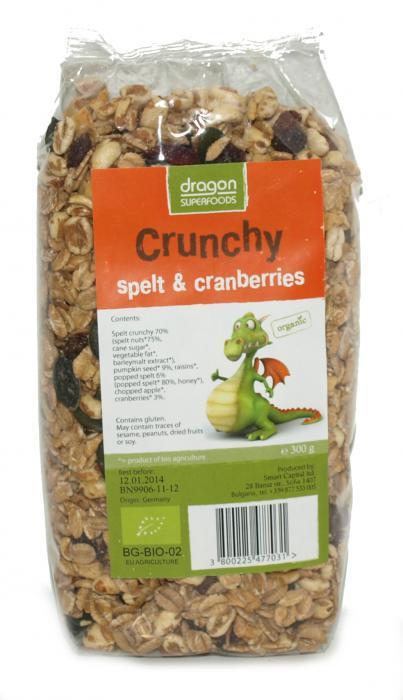 Crunchy Cu Spelta Si Merisor Bio 300 g Dragon Superfoods 0