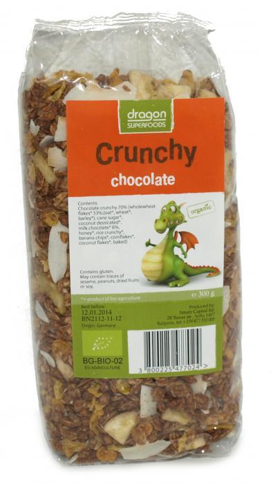 Crunchy Cu Ciocolata Bio 300 g Dragon Superfoods 0