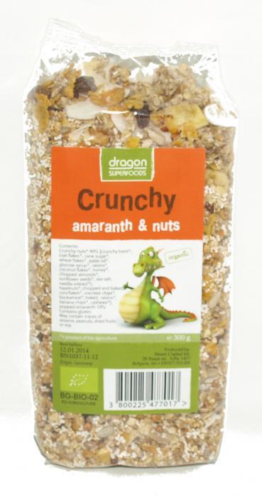 Crunchy Cu Amaranth Si Nuci Bio 300 g Dragon Superfoods 0