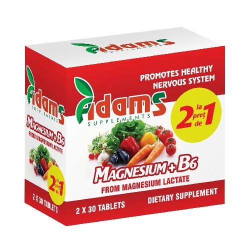 Magneziu + B6 30 tb 1+1 Gratis Adams Vision 0