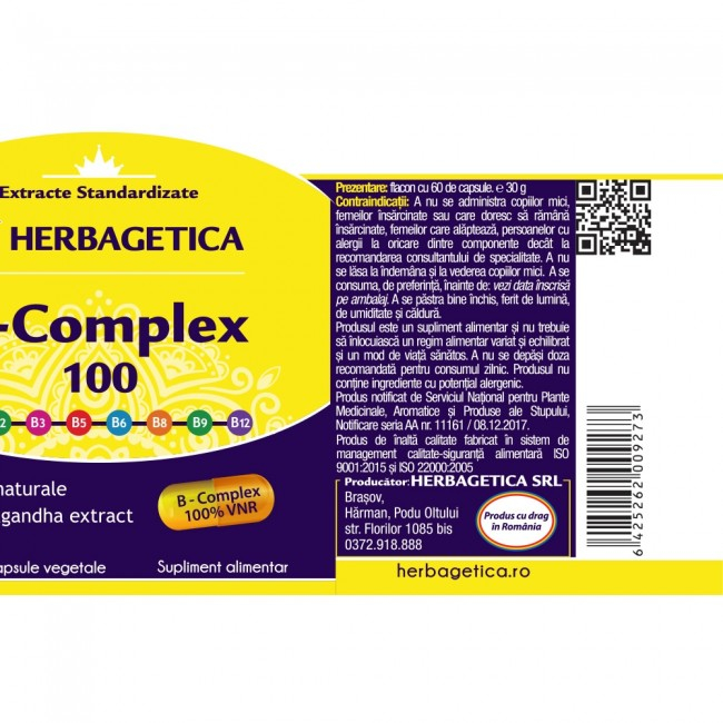 B Complex 100 120 cps Herbagetica 1