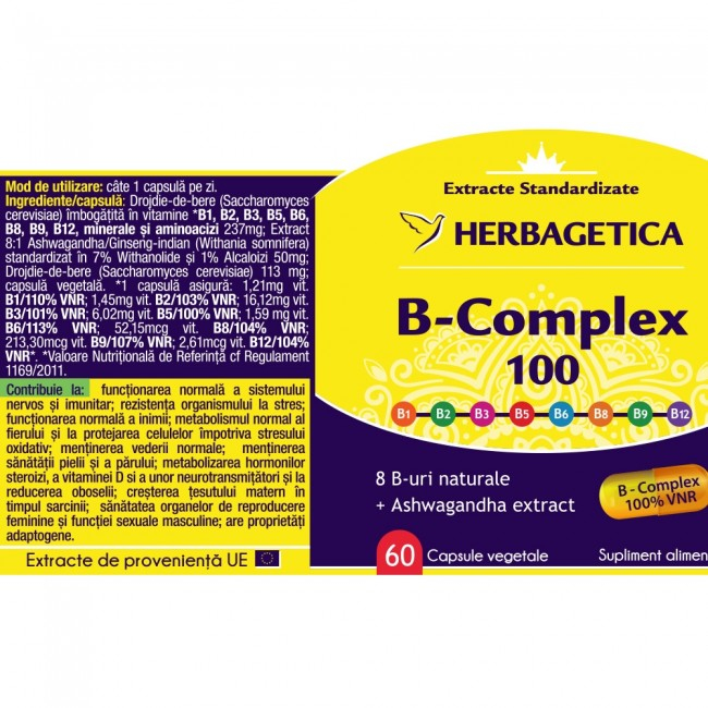 B Complex 100 30 cps Herbagetica 1