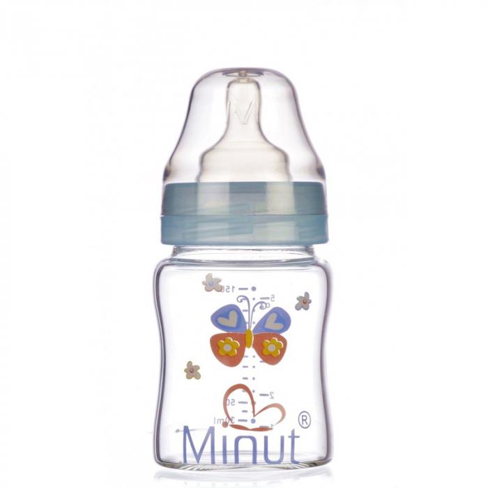 Biberon Sticla Premium Gat Larg 0+ 150 ml Minut [0]