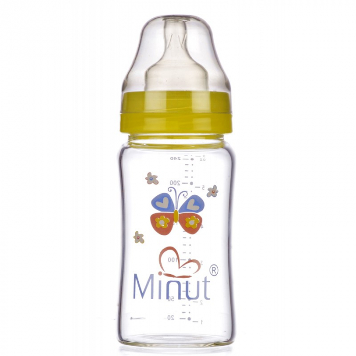 Biberon Sticla Premium Gat Larg 3+ 240 ml Minut 0