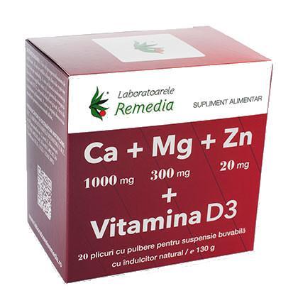 Ca+Mg+Zn+D3 20 plicuri Remedia [0]