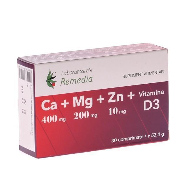 Ca+Mg+Zn+D3 30 cpr Remedia 0