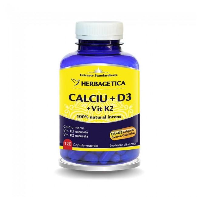 Calciu +D3 cu Vitamina K2 120 cps Herbagetica 0