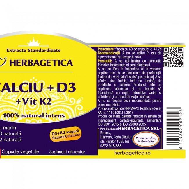 Calciu +D3 cu Vitamina K2 120 cps Herbagetica 2
