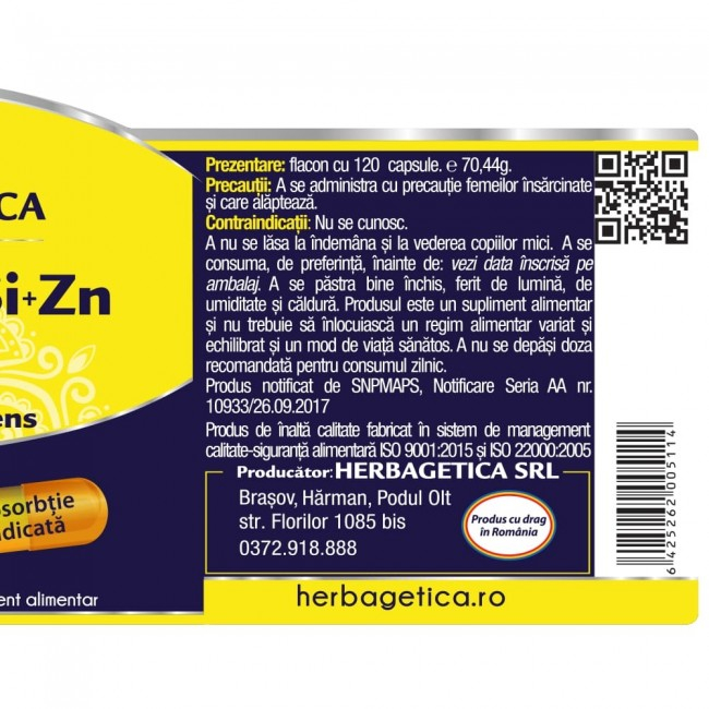 Ca+Mg+Se+Si+Zn cu Vit D3 Complex Forte 60 cps Herbagetica 1