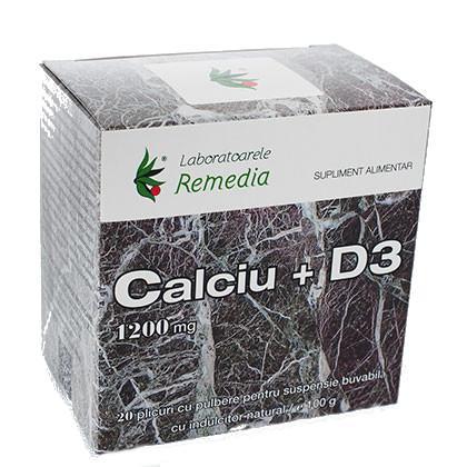 Calciu 1200 Mg + D3 20 plicuri Remedia 0