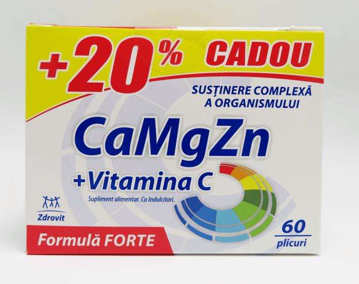 Calciu + Magneziu + Zinc + Vitamina C Forte 60 + 20%Cadou  plicuri Zdrovit [0]