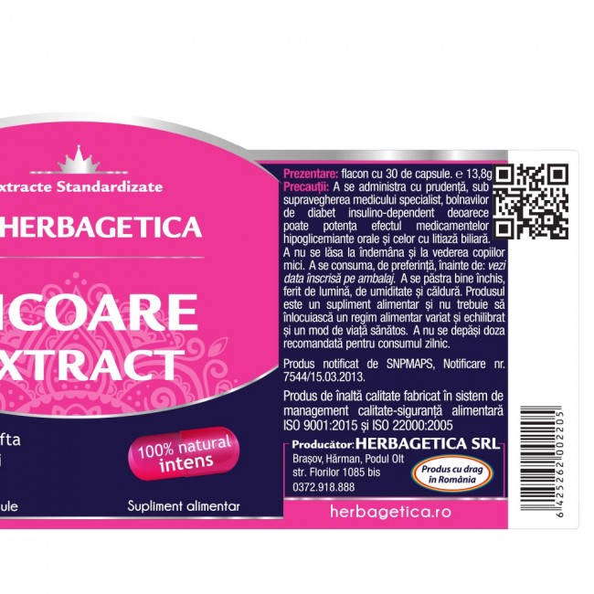 Cicoare Extract 30 cps Herbagetica -10% 2