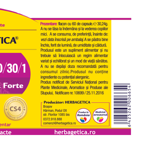 Cordyceps 10/30/1 - Ciuperca Tibetana Forte 120 cps Herbagetica [2]