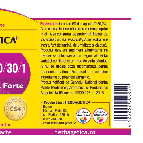 Cordyceps 10/30/1 - Ciuperca Tibetana Forte 30 cps Herbagetica [2]