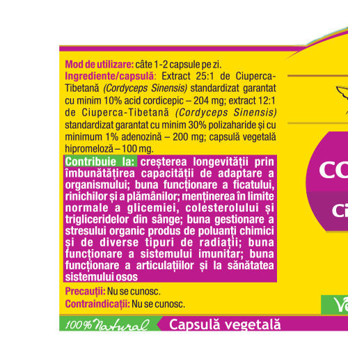 Cordyceps 10/30/1 - Ciuperca Tibetana Forte 30 cps Herbagetica [1]