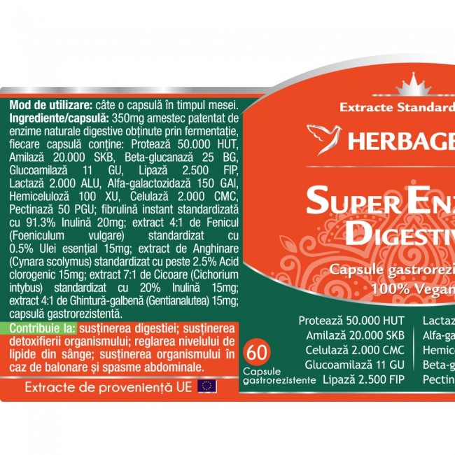 Super Enzime Digestive 60 cps Herbagetica 1