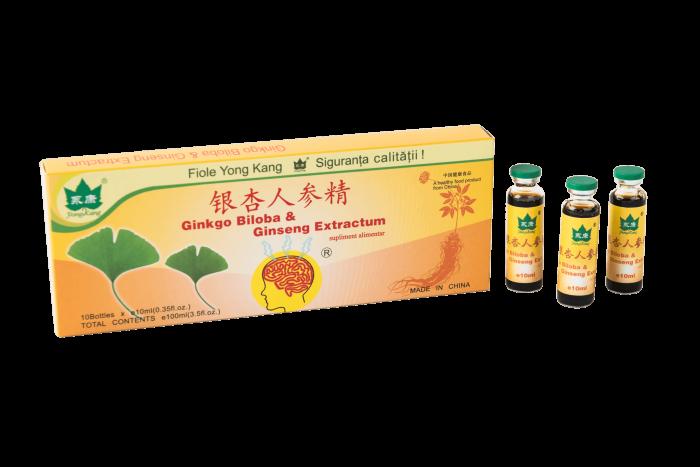 Ginkgo Biloba + Ginseng 1000 + 1500 mg 10 fiole a 10 ml Yong Kang 0