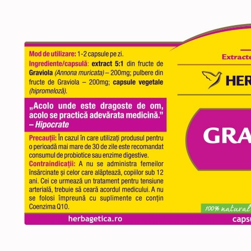 Graviola Extract Pur 60 cps Herbagetica 1