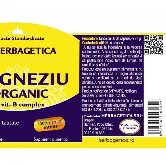 Magneziu Organic 60 cps Herbagetica [2]