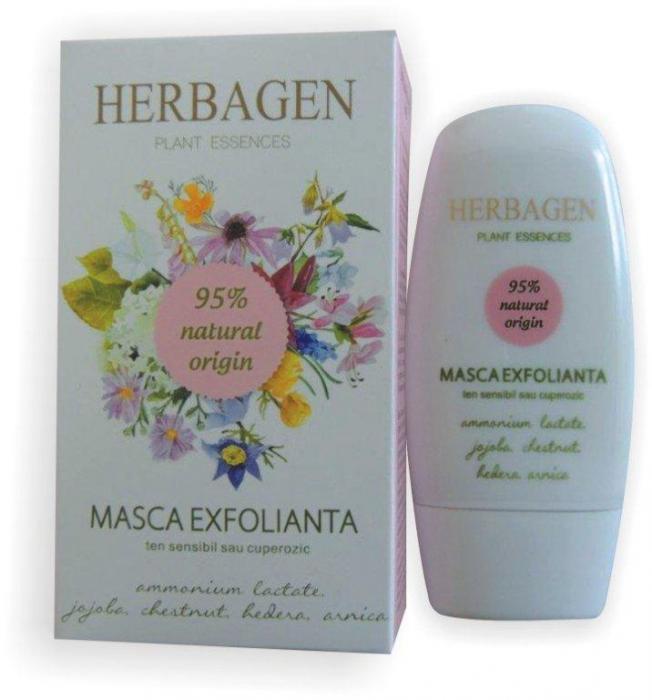 Masca Exfolianta Ten Sensibil sau Cuperozic 50 ml Herbagen 0