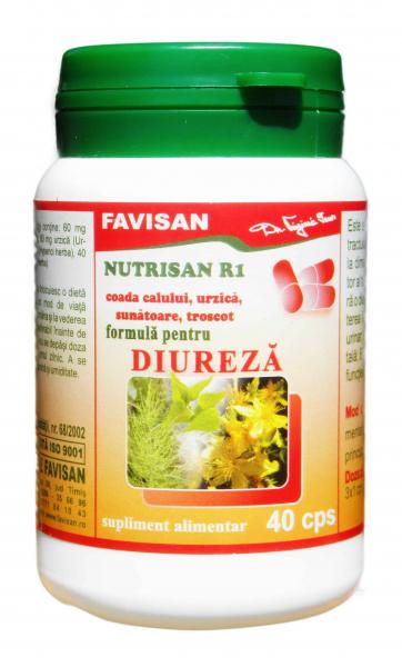 Nutrisan R1 ( Coada Calului Urzica Sunatoare Troscot ) - formula diuretica x 40 cps Favisan 0